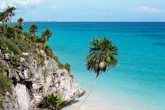 海滩tulum 免版税库存图片