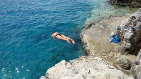 海潜水者,波尔图Roxa,扎金索斯州海岛,希腊 库存图片