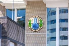 海牙,海牙/荷兰- 02 07 18 :禁止化学武器组织修造在海牙netherland的 免版税库存照片