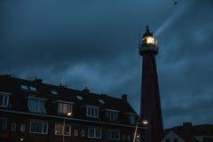 海牙,荷兰- 10月18 :Hoge vuurtoren van IJmuiden Lighthouse IJmuiden,海牙,荷兰 库存图片