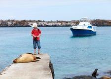 海狮和男孩 库存照片