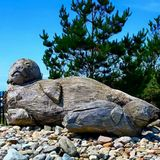 海狮雕塑 免版税库存照片