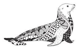 海狮zentangle传统化了,密封,导航,例证, freehan 库存图片