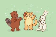 海狸、猫和野兔刷他们的牙 向量例证
