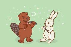 海狸和野兔刷他们的牙 向量例证