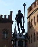 海王星喷泉在广场del聂图诺,波隆纳的 库存图片