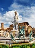 海王星喷泉在广场della Signoria,佛罗伦萨的 图库摄影
