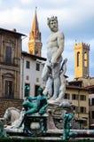 海王星喷泉在日落的,佛罗伦萨,意大利 库存照片