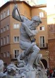 海王星喷泉在罗马 意大利 库存照片