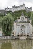 海王星喷泉在萨尔茨堡,奥地利 免版税库存照片