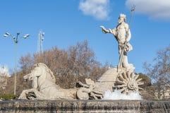 海王星喷泉在马德里,西班牙 库存照片