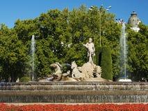 海王星喷泉在马德里,西班牙 免版税库存图片