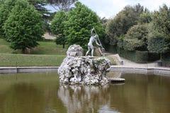 海王星喷泉在Boboli庭院的中心 雕刻家, Stoldo Lorenzi 佛罗伦萨 免版税库存照片