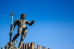 海王星喷泉,波隆纳,意大利 免版税库存照片