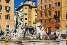 海王星喷泉,罗马 免版税库存图片