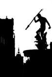 海王星喷泉黑白剪影在格但斯克 免版税图库摄影