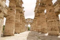 海王星寺庙, Paestum,意大利 免版税库存图片