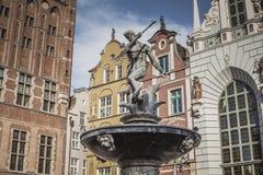 海王星的喷泉在格但斯克,波兰老镇  免版税图库摄影