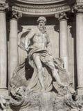 海王星雕象在Trevi喷泉的在罗马,意大利 免版税图库摄影