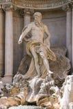 海王星雕象在Trevi喷泉的 意大利罗马 免版税库存图片