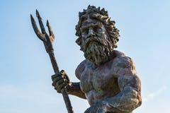 海王星Statue国王在弗吉尼亚海滩木板走道的 免版税库存照片