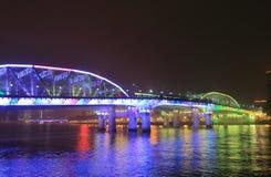 海珠桥梁夜都市风景广州中国 免版税图库摄影