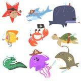 海生动物和水下的野生生物与海盗辅助部件和属性被设置可笑的漫画人物 库存照片