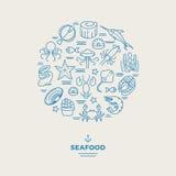 海生动物,在圈子的海鲜稀薄的线象设计 餐馆现代商标 免版税库存照片