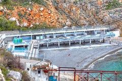 黑海疗养院海岸海滩  免版税库存照片