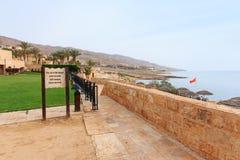 死海的全景约旦边的 免版税库存照片
