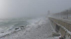 海的冬天海岸 免版税库存照片