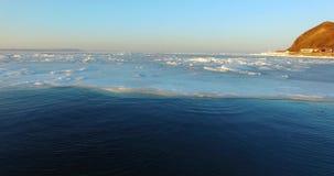 海的冰面在阿穆尔湾 股票录像