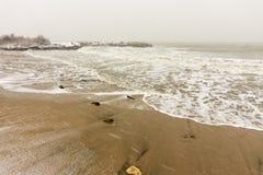 黑海的冷烫在波摩莱,保加利亚, 12月31日 库存图片