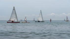 海的基于 海皮船,有风帆的,筏小船,站立桨手 室外海体育活动 库存图片