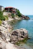 黑海的岩石海岸 免版税库存照片