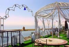 死海的岸的,海滩Biankini,以色列餐馆 免版税库存照片