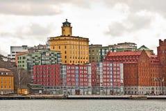 从海的斯德哥尔摩都市风景 库存照片