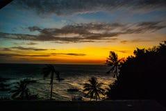 海的日落、看法和棕榈树 Apo海岛,菲律宾 免版税库存照片