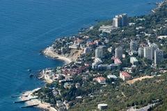 沿海岸区的村庄 免版税库存照片