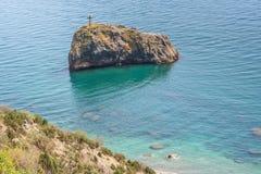 黑海的海岸在海角Fiolent附近的 免版税库存照片