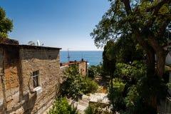 黑海的看法从房子大阳台的 免版税库存照片