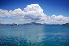 海的看法Zante希腊海岸的。 免版税图库摄影
