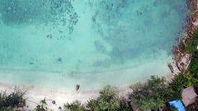 海的顶视图在Phangan海岛上的在泰国 免版税库存图片