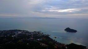 海的顶视图在Phangan海岛上的在泰国 库存照片