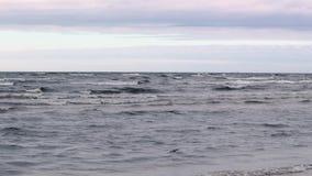 海的高定义英尺长度和在日落时间的天空 股票录像