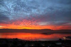 死海的黎明 免版税库存照片