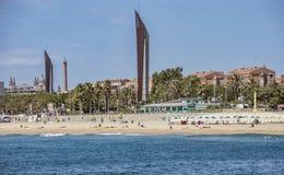 从海的Barceloneta海滩 免版税库存照片