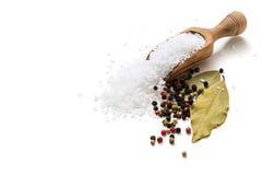 海盐、胡椒和月桂叶 免版税库存照片