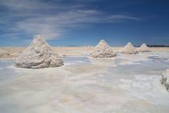 海盐堆在撒拉族Uyuni 免版税库存图片