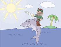海盗乘坐鲨鱼 免版税库存图片
